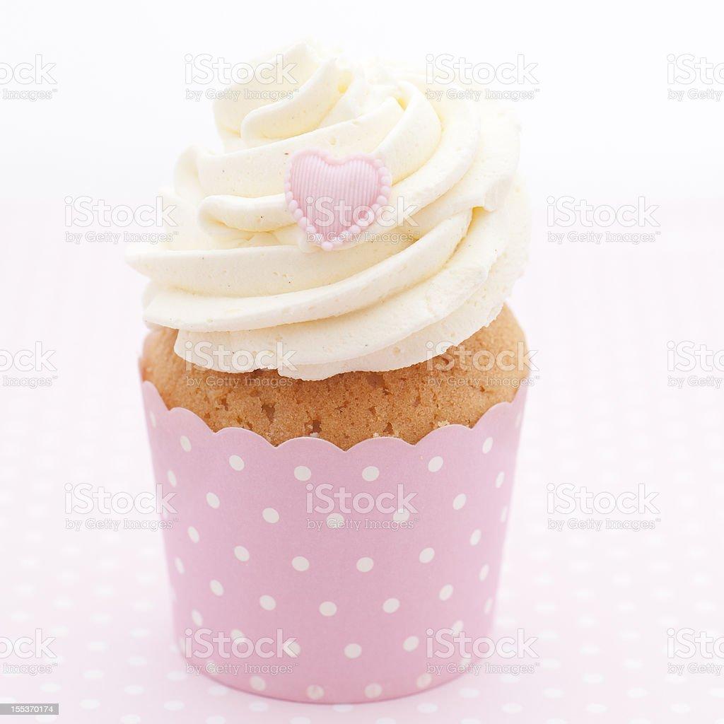 Pink heart cupcake royalty-free stock photo