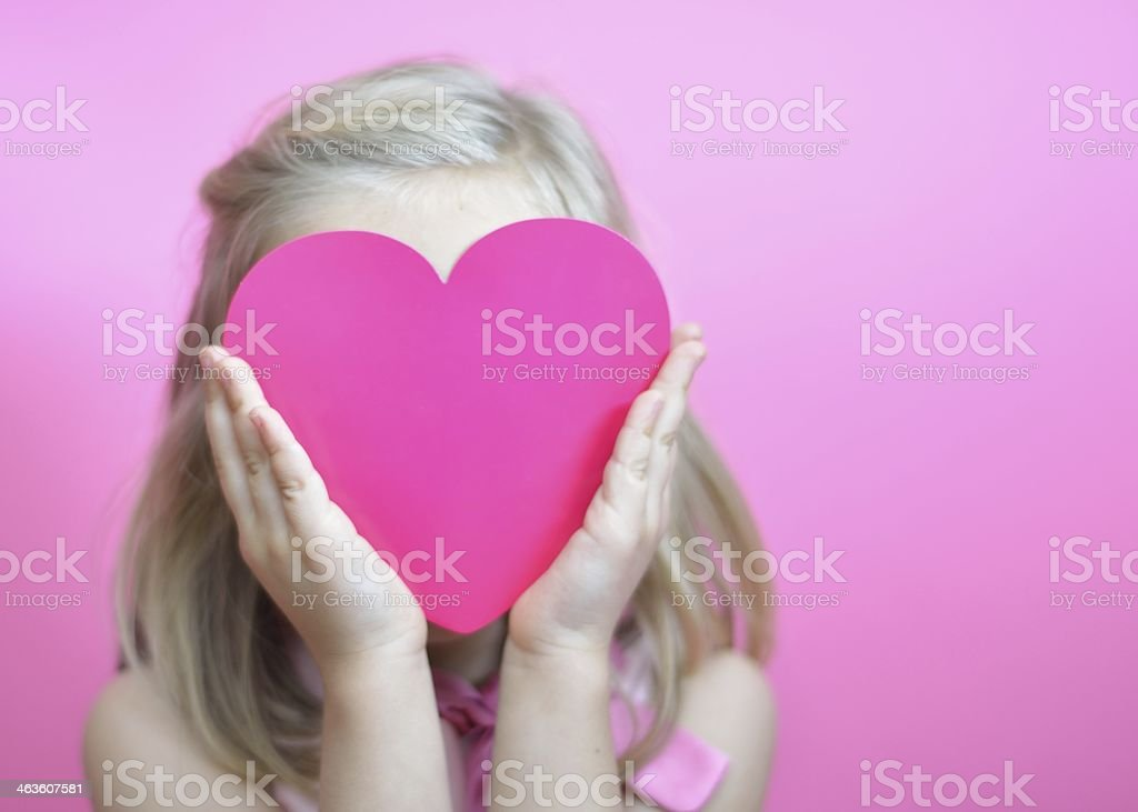 Pink heart face stock photo