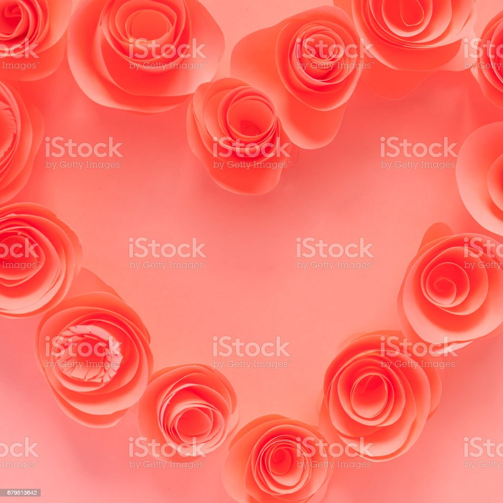 Pink heart made of paper flowers royalty-free stock photo