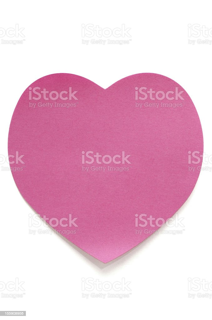 Pink Heart Post-it Note on white royalty-free stock photo