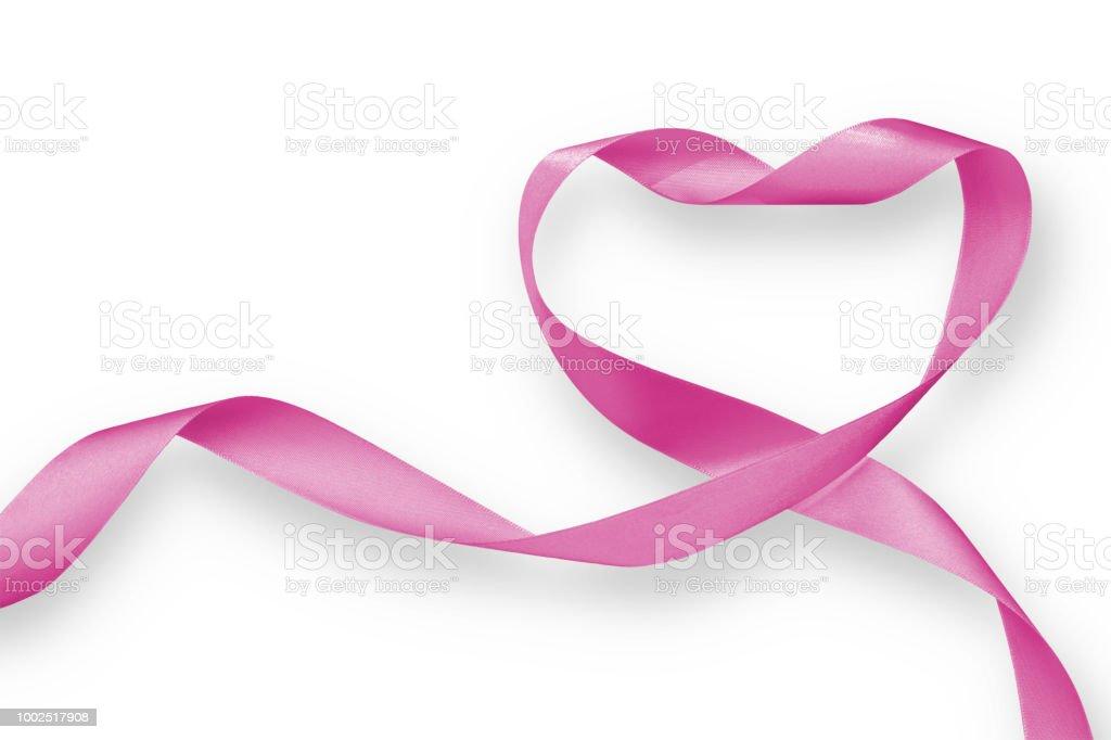 Rosa Herz isolierten auf weißen Hintergrund (Clipping-Pfad), für Nation Frau Gesundheit Monat und Breast Cancer Awareness ribbon – Foto