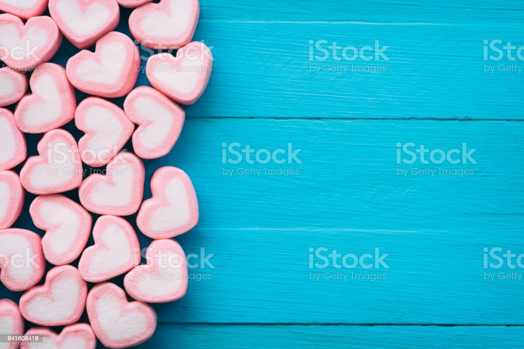 Pink Heart Shape Marshmallow For Love Theme And Valentine