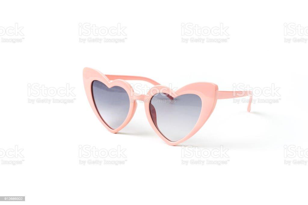 Rosa Herz Form Sonnenbrille isoliert – Foto