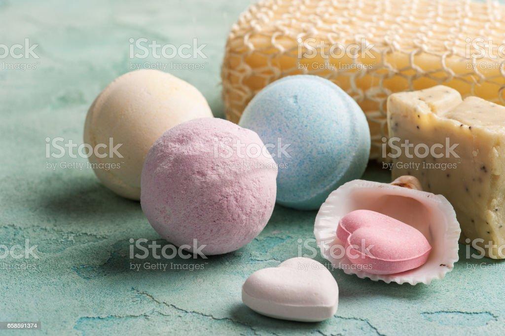 Pink heart shaped bath bombs stock photo