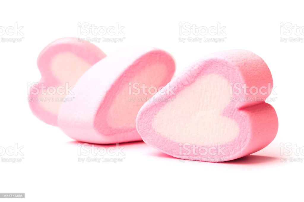 Pink heart shaped marshmallows isolated on white background royalty-free stock photo