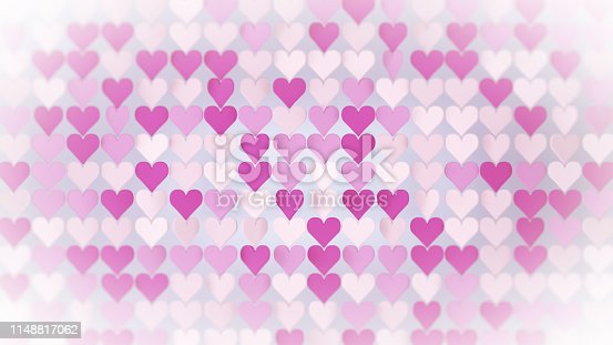 Pink hearts array. Abstract romantic concept. 3D render illustration