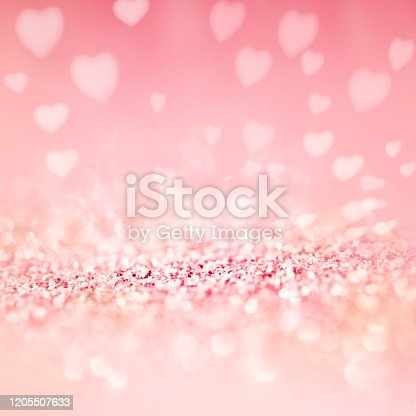 Pastel pink hearts background. Square romantic background with sparkling effects. Abstract love concept for wedding, valentins day and mothers day with space for design and text.