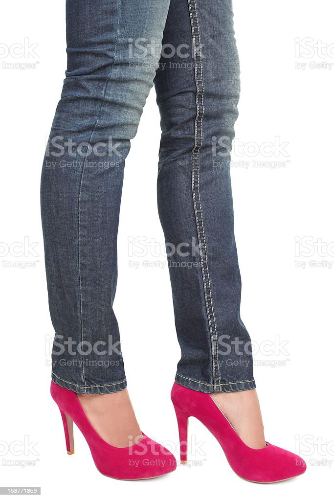 Pink high heels and jeans royalty-free stock photo