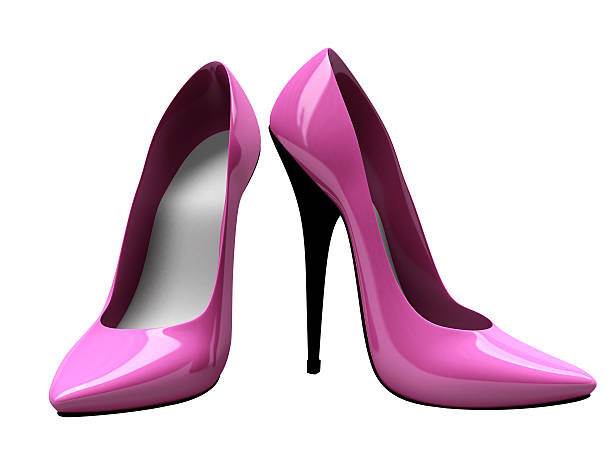3D Pink High Heels Shoes - Front and Side View stock photo