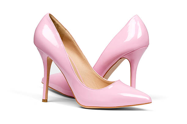 Pink high hell shoes stock photo