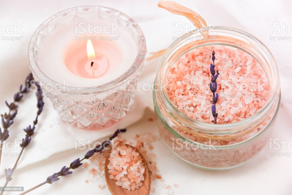 Pink Himalayan Salt In Glass Jar Burning Candle Wood Spoon Lavender