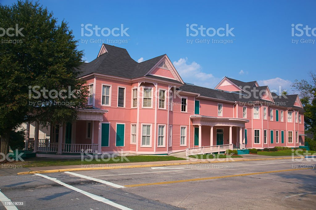 Pink Historic Office Building that Looks Like Apartments XXXL stock photo
