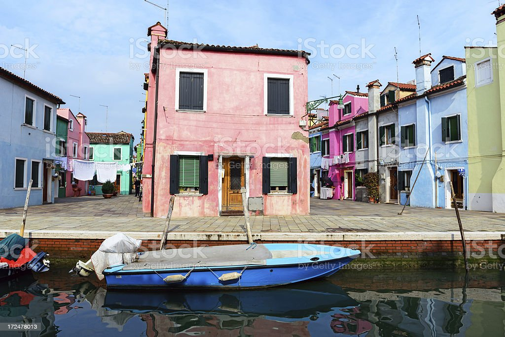 Pink house by the canal, Burano, Venice royalty-free stock photo