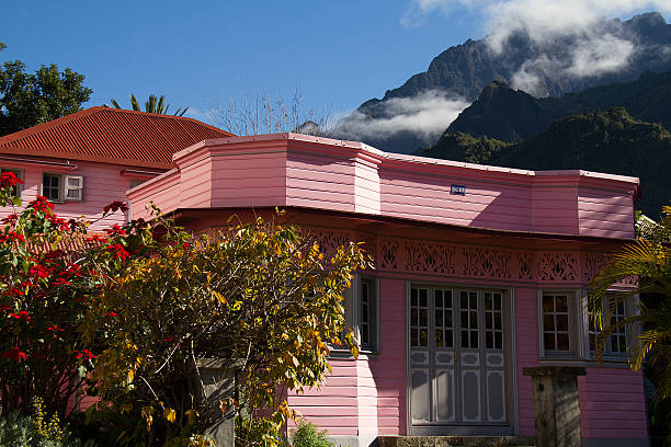 Pink house in Cilaos Village. stock photo