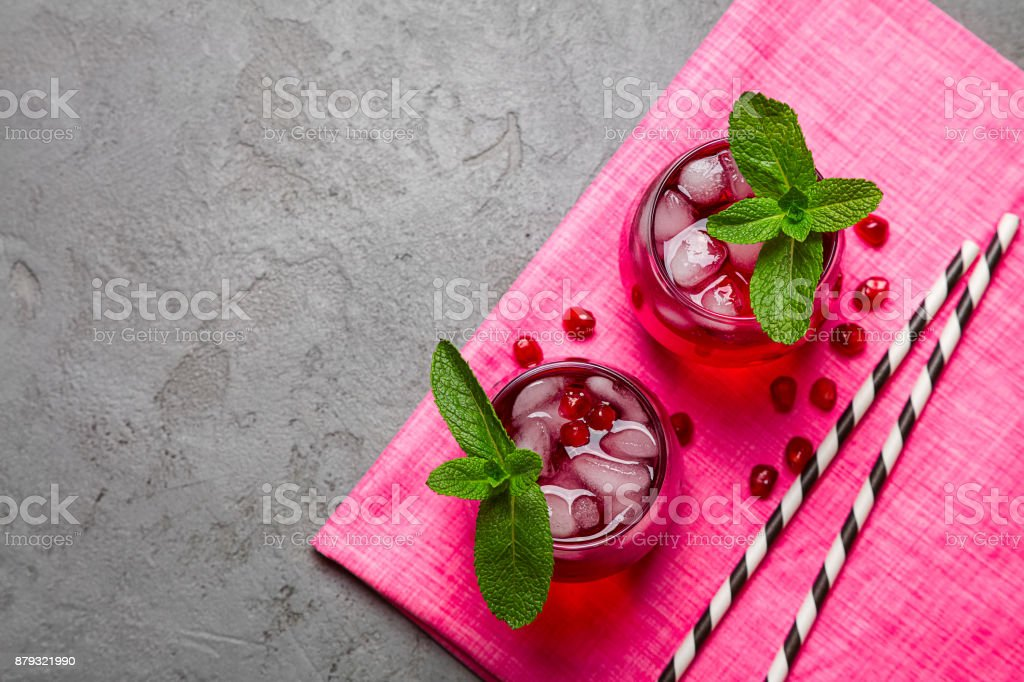 Pink ice cold drinks, top view stock photo