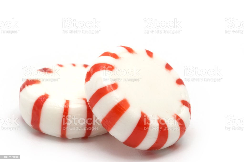 Pink image of 2 candy peppermint sweets stock photo
