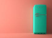 Pink Interior with blue fridge 3D illustration