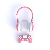 istock Pink joystick with pink headphones and smart phone on white table background, Computer game competition, Gaming concept, 3D rendering 978936092