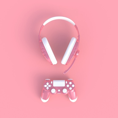 istock Pink joystick with pink headphones on pink table background, Computer game competition, Gaming concept, 3D rendering 998214816