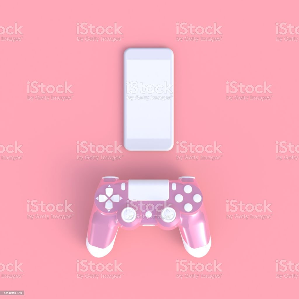 Pink joystick with smart phone on pink table background, Computer game competition, Gaming concept, 3D rendering royalty-free stock photo