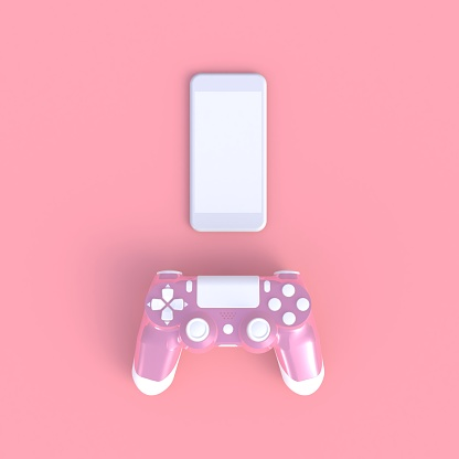 istock Pink joystick with smart phone on pink table background, Computer game competition, Gaming concept, 3D rendering 964864174