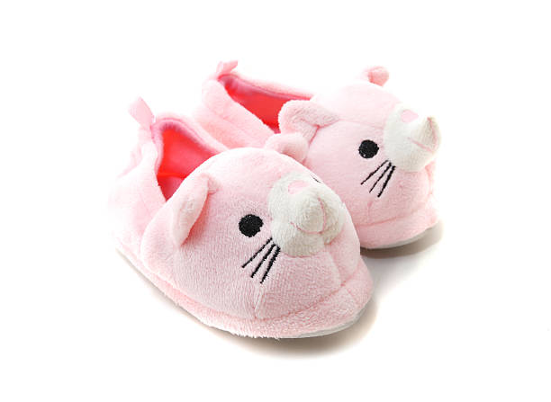 Pink Kids Slippers stock photo