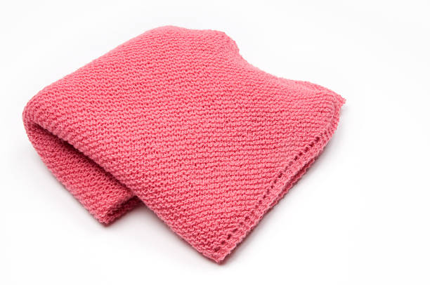 Pink Knitted Blanket  baby blanket stock pictures, royalty-free photos & images
