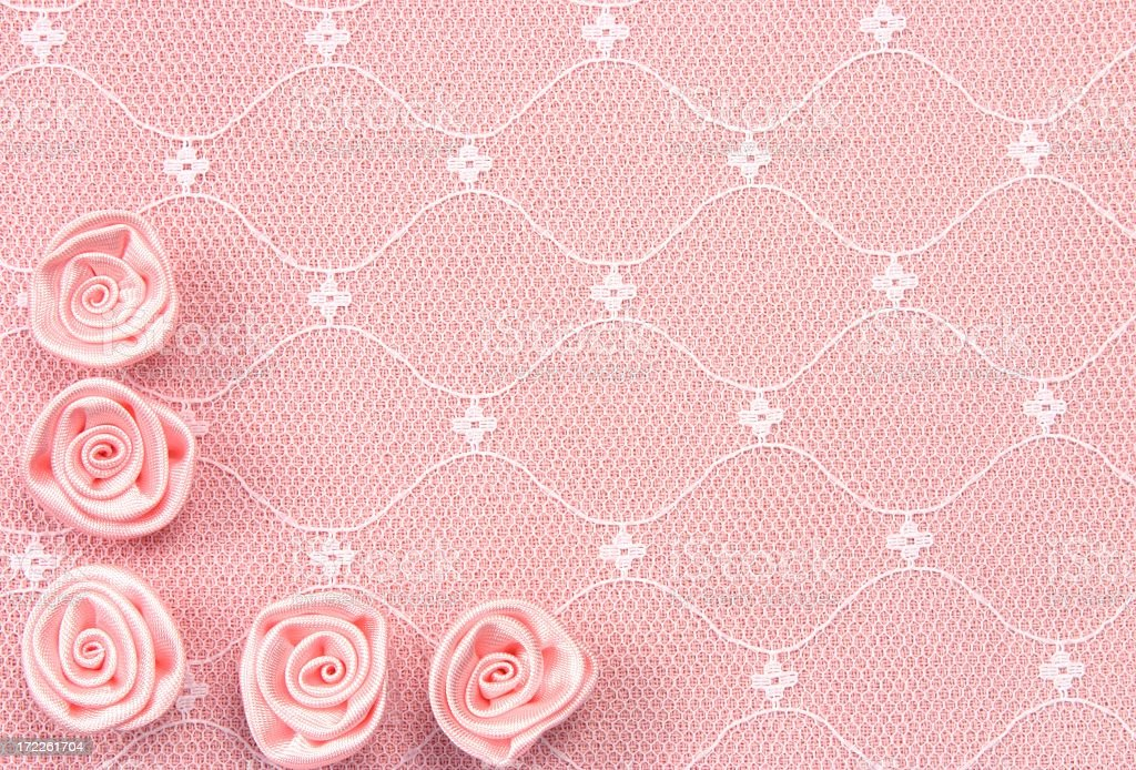 Pink Lace Background with Roses royalty-free stock photo