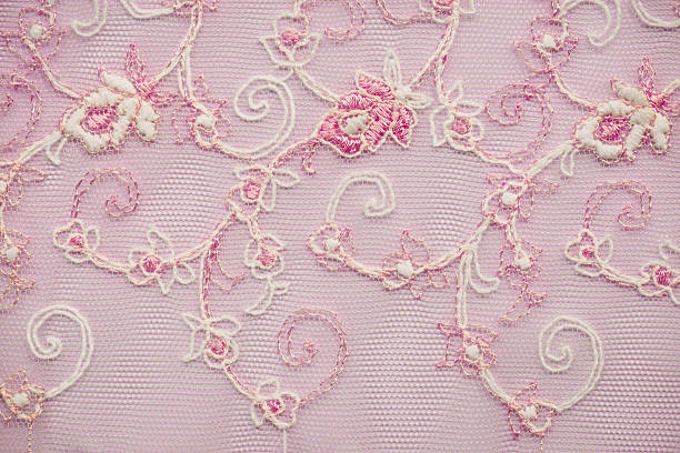 Pink lace floral pattern Lace floral pattern two-tone,see through on pink texture background lace textile stock pictures, royalty-free photos & images