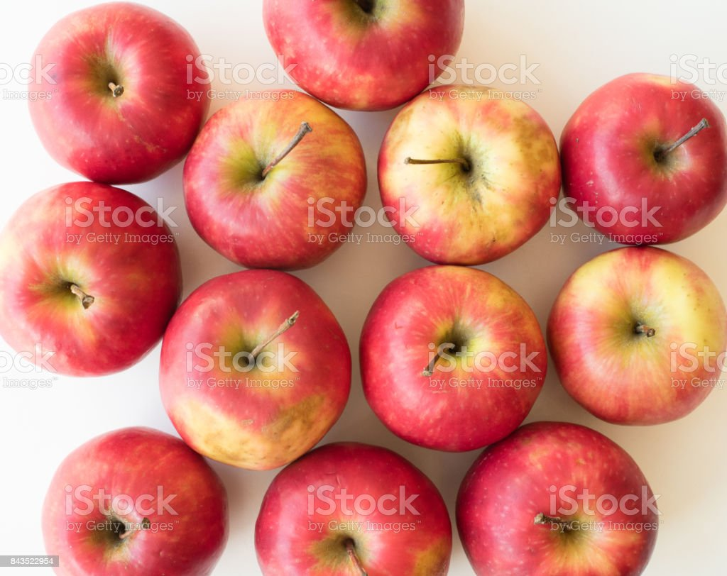 Pink lady apples from above stock photo