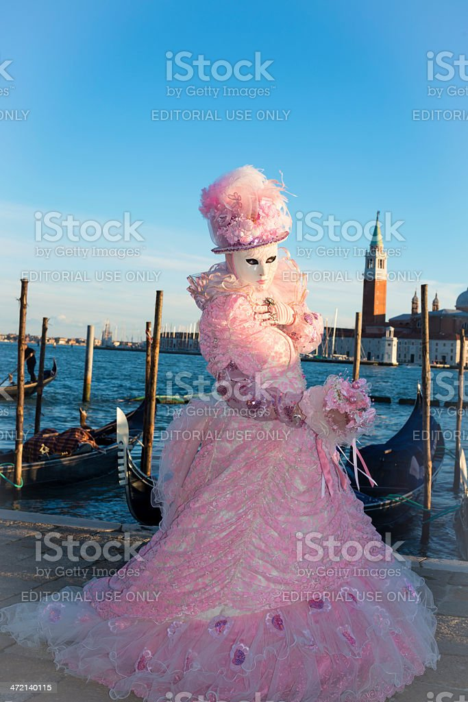 Pink Lady at Venice Carnival, Italy, Europe royalty-free stock photo