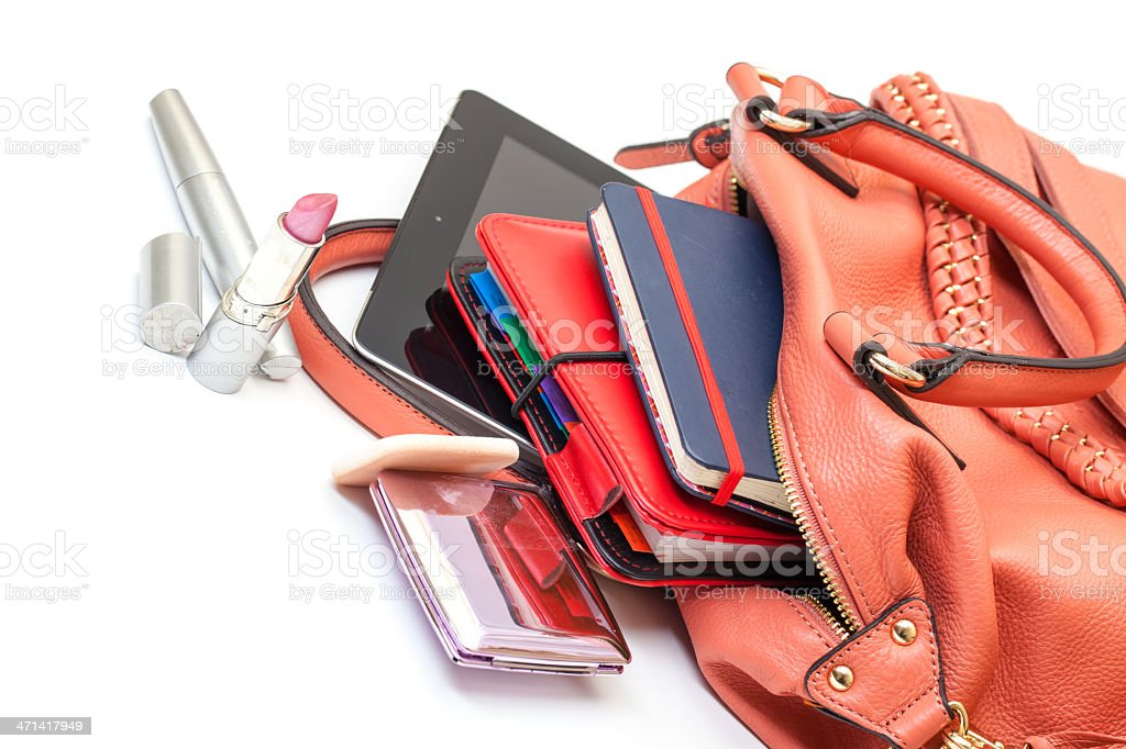 Pink Leather Ladies Handbag with Tablet PC royalty-free stock photo
