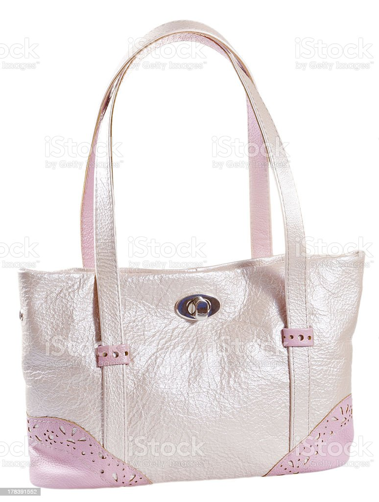pink leather lady's bag stock photo