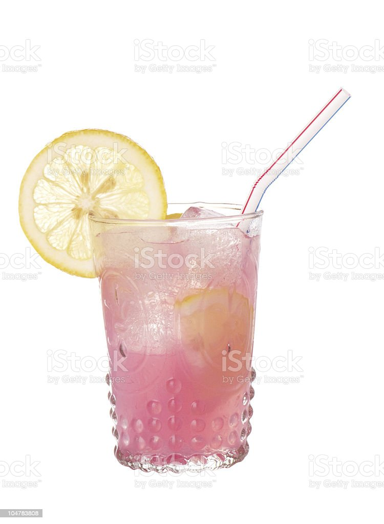 Pink Lemonade In Old Style Glass Isolated stock photo