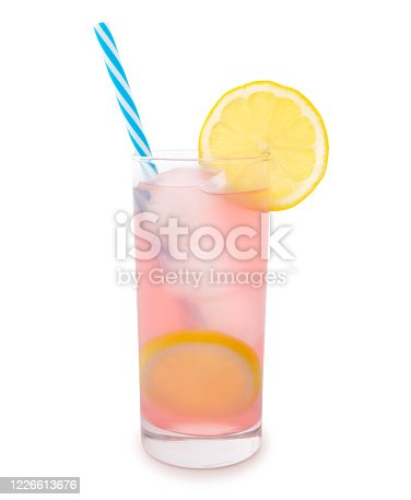 Glass of pink lemonade with straw and a slice of lemon isolated on white