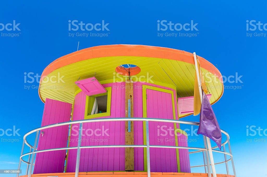 Pink lifeguard house in Miami Beach, Florida, USA stock photo