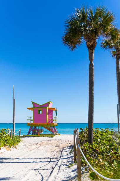 Pink Lifeguard tower in Miami Beach - Florida Pink Lifeguard tower in Miami Beach - Florida miami beach stock pictures, royalty-free photos & images