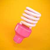 Pink Light Bulb on Orange Background