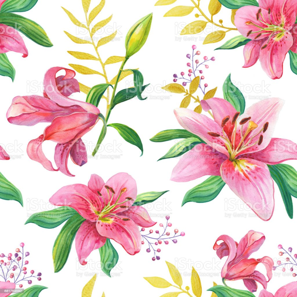 Pink Lilies.Watercolor Seamless pattern stock photo