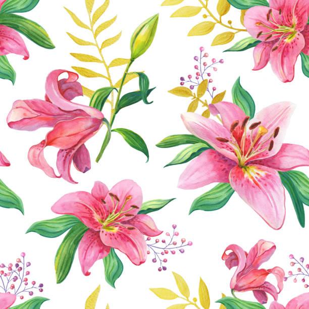 Pink Lilies.Watercolor Seamless pattern stock photo