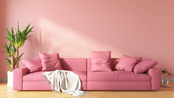 Pink Living Room with Sofa stock photo