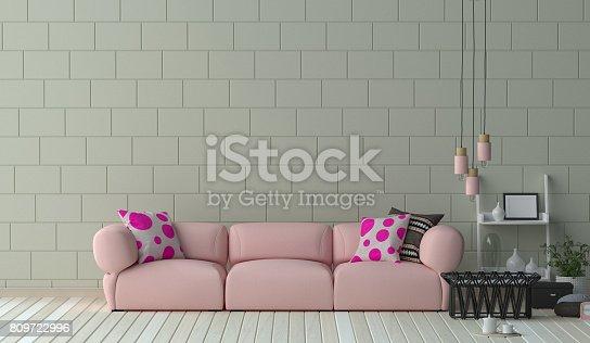 1095381860istockphoto Pink long sofa furniture set in living room 3D illustration interior design,Reception area in the office ,room interior design 809722996