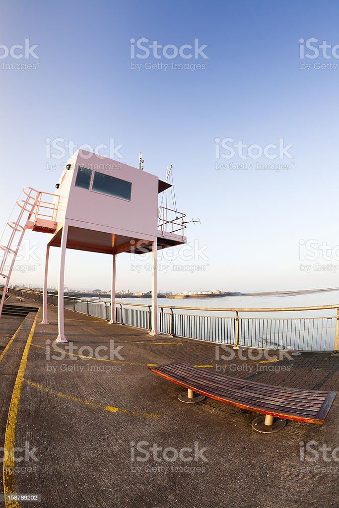 pink lookout tower Cardiff Bay stock photo