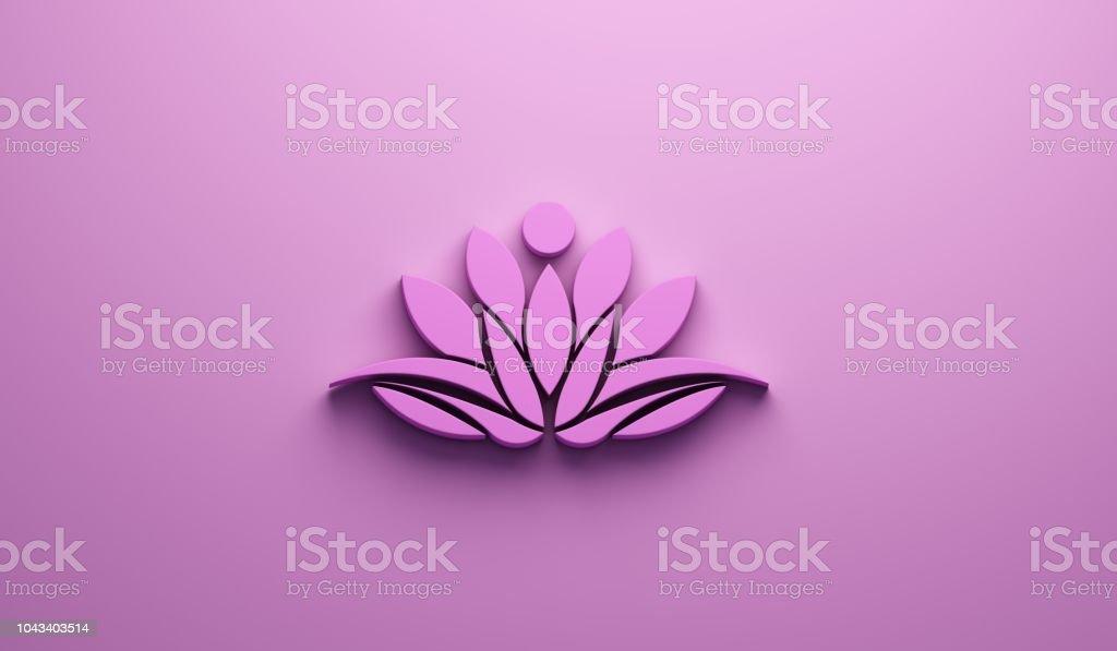 Rosa Lotus Person logotyp. 3D Render illustration bildbanksfoto