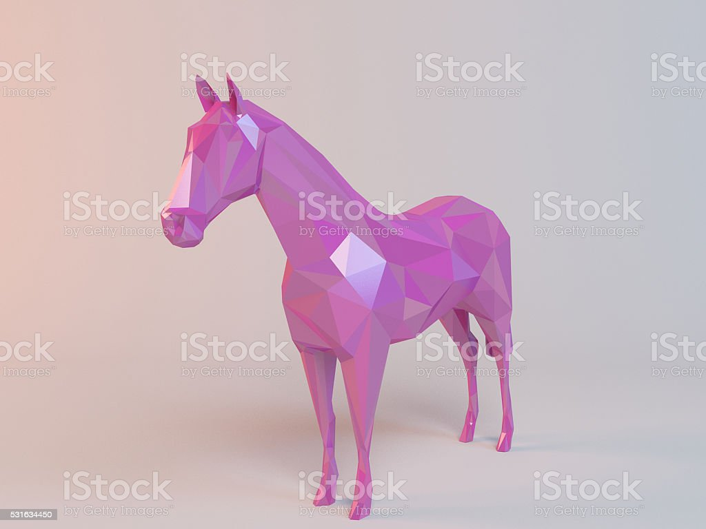 3D pink low poly (horse) stock photo
