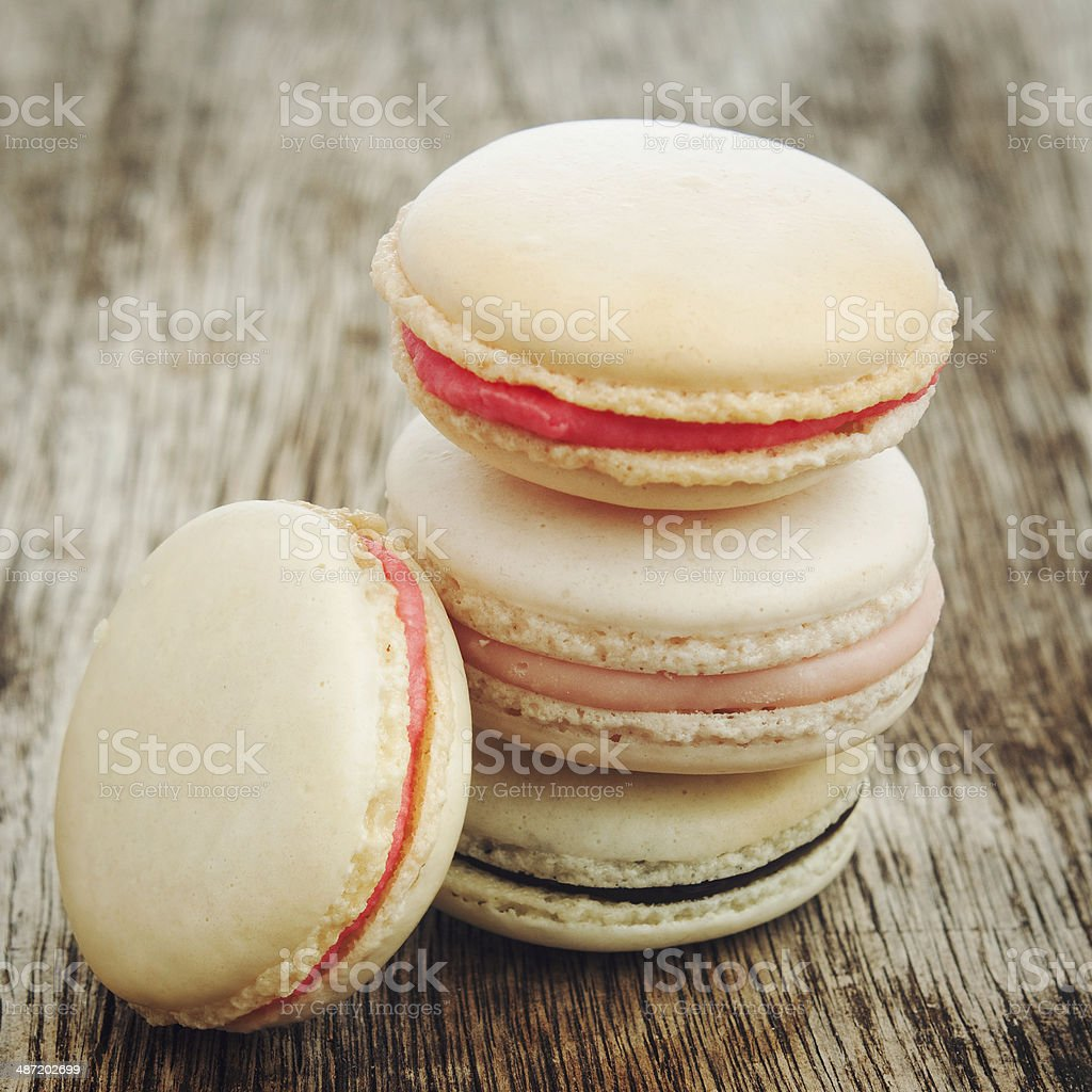 pink macarons in retro colors stock photo