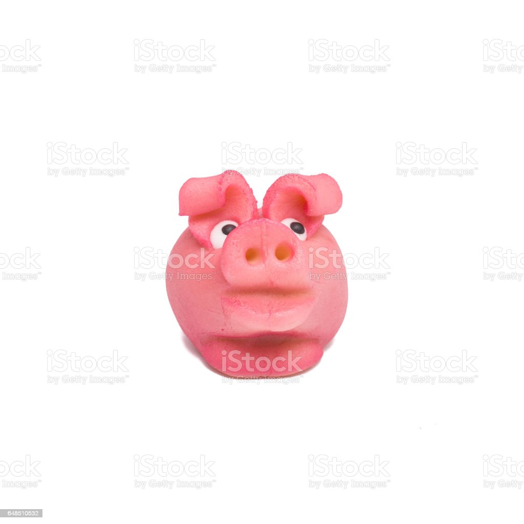 Pink marzipan pit at new year stock photo
