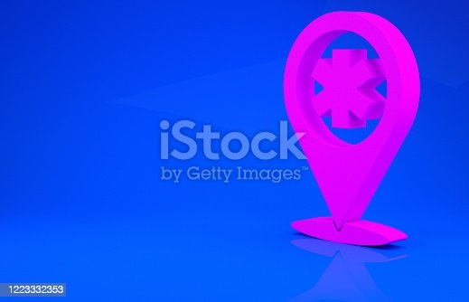 istock Pink Medical map pointer with cross hospital icon isolated on blue background. Minimalism concept. 3d illustration 3D render 1223332353