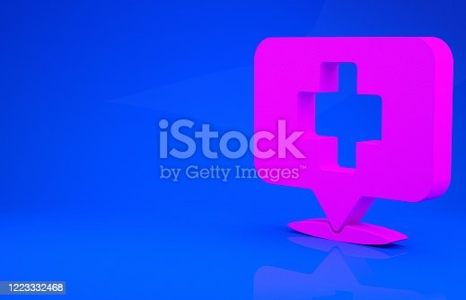istock Pink Medical map pointer with cross hospital icon isolated on blue background. Minimalism concept. 3d illustration 3D render 1223332468