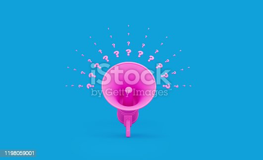 istock Pink Megaphone and Question Marks over Blue Background 1198059001